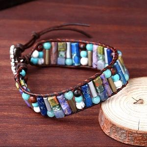 Handmade BoHo Mixed Stone Vegan Leather Bracelet
